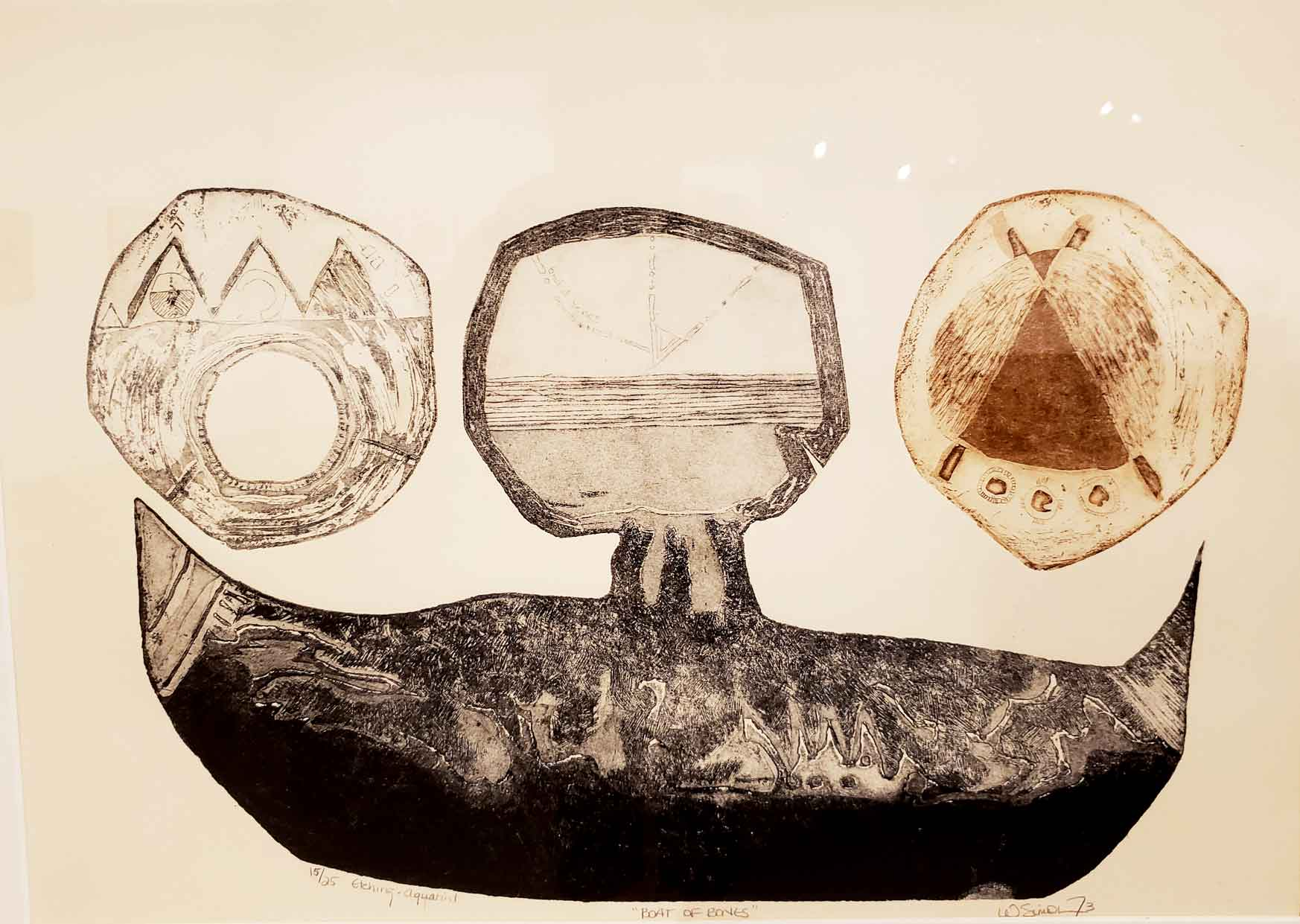 Boat of Bones, etching by Wilma Simon shown at Drawn to the West