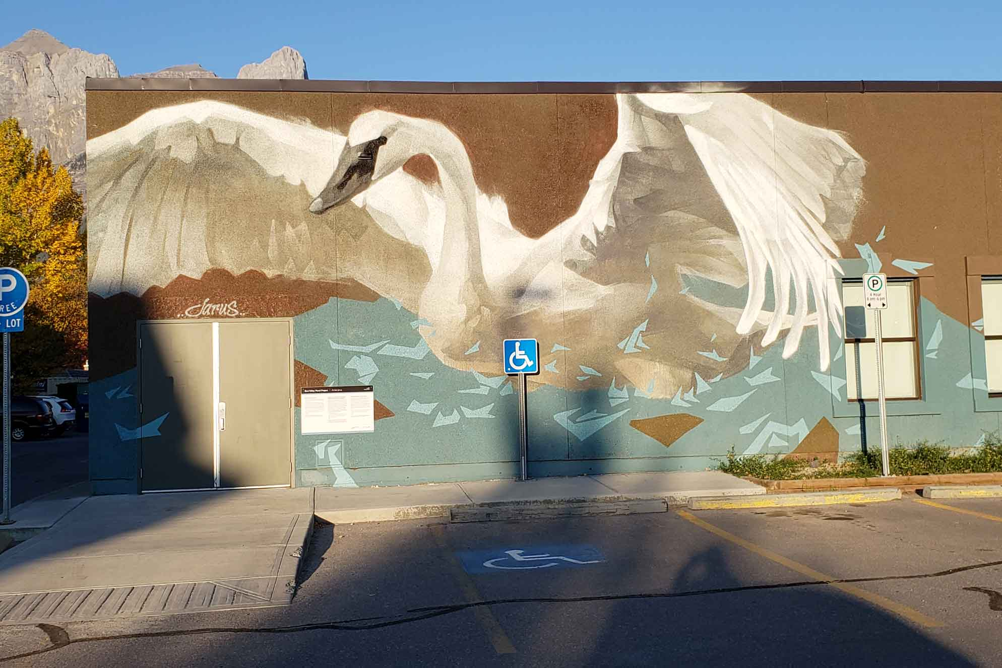 Swan mural on the artsPlace building